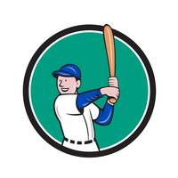 Baseball Player Batting Stance Circle Cartoon