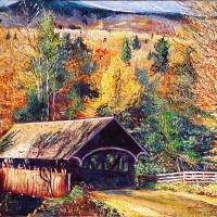 Autumn Covered Bridge Art Prints & Posters by David Lloyd Glover