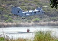 A CH-46E Sea Knight helicopter , US Navy