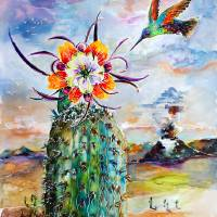 Hummingbird on Cactus Flower Art Prints & Posters by Ginette Callaway