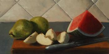 Pears, Watermelon and Knife