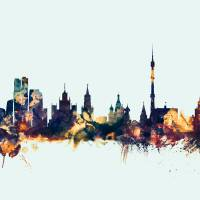 Moscow Russia Skyline Art Prints & Posters by Michael Tompsett