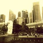 """Lion City Singapore,  monochrome"" by sghomedeco"