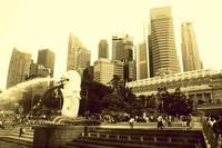 Lion City Singapore,  monochrome
