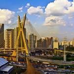 """Modern Sao Paulo Skyline - Iconic Cable Stayed Bri"" by CarlosAlkmin"