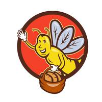 Bee Carrying Basket With Bread Circle Cartoon