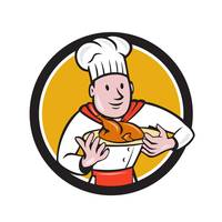 Chef Cook Roast Chicken Dish Circle Cartoon
