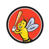 Killer Bee Baseball Player Batting Circle Cartoon
