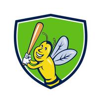 Killer Bee Baseball Player Batting Crest Cartoon