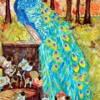 Peacock PreDawn  Peacock Decor Art Prints & Posters by Miriam Schulman