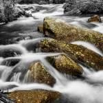 """Cascading Water and Rocky Mountain Rocks BWSC"" by lightningman"