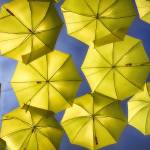 """Yellow Umbrellas in the Blue Sky"" by George_Oze"