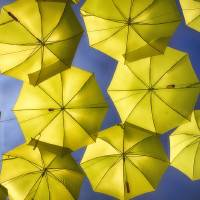 Yellow Umbrellas in the Blue Sky Art Prints & Posters by George Oze