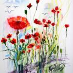 """Tall Red Poppies Flower Field"" by GinetteCallaway"