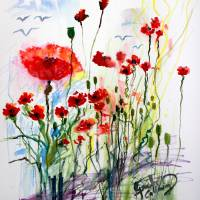 Tall Red Poppies Flower Field Art Prints & Posters by Ginette Callaway