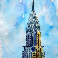 Solitary View of Chrysler Building New York City Art Prints & Posters by M Bleichner