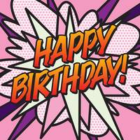 COMIC BOOK HAPPY BIRTHDAY! PINK