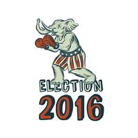 Election 2016 Republican Elephant Boxer Etching