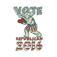 Vote Republican 2016 Elephant Boxer Isolated Etchi