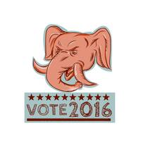 Vote 2016 Republican Elephant Mascot Head Etching