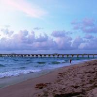 Juno Beach Pier Florida Sunrise Seascape C7 Art Prints & Posters by Ricardos Creations