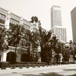"""Raffles Hotel and Street, Singapore, Monochrome"" by sghomedeco"
