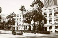 Raffles Hotel and Street, Singapore, Monochrome