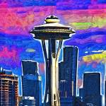 """""""Space Needle Colorful Sky"""" by Kirtdtisdale"""