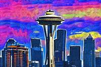 Space Needle Colorful Sky