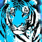 """TIGER-3 (LARGE) BLUE"" by thegriffinpassant"