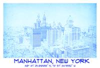 Manhattan, New York 1912 BluePrint GPS