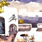 """Greek Balcony house scene watercolour"" by brianraggatt"
