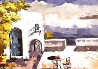 Greek Balcony house scene watercolour
