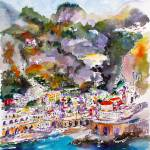"""Amalfi Coast Atrani Italy Watercolor"" by GinetteCallaway"