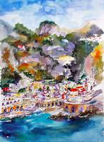 Amalfi Coast Atrani Italy Watercolor