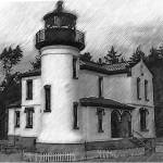 """Admiralty Head Lighthouse Sketched"" by Kirtdtisdale"