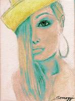 BLOND HAIR, YELLOW HAT w/TEAL SHADOW