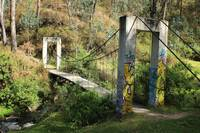 Swinging Bridge Over a Stream
