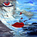 """OP-037 Lady with Red Lips"" by cneartgallery"