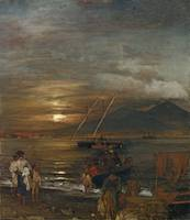 Oswald Achenbach, THE BAY OF NAPLES IN THE MOONLIG
