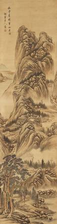 SCROLL OF A LANDSCAPE IN THE STYLE OF WANG JIAN (1