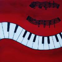 Piano Keys - Red Hot and Ready to Rock Art Prints & Posters by Catalina Walker