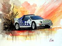Ford RS200 Rally Car Watercolor Painting