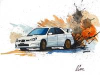 Subaru WRX STi Watercolor Drift Painting