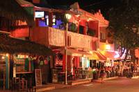 Street secne at night, Playa del Carmen, Mexico