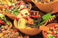 Colorful Mexican Guitar and Music Toys in Baskets