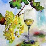 """Chardonnay White Wine and Grapes"" by GinetteCallaway"