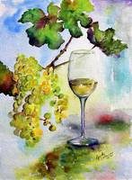 Chardonnay White Wine and Grapes