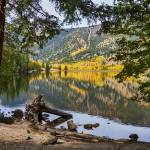"""Autumn Cottonwood Lake Reflections Dreaming"" by lightningman"