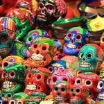 """Colorful Mexican Day of the Dead Ceramic skulls, M"" by RoupenBaker"